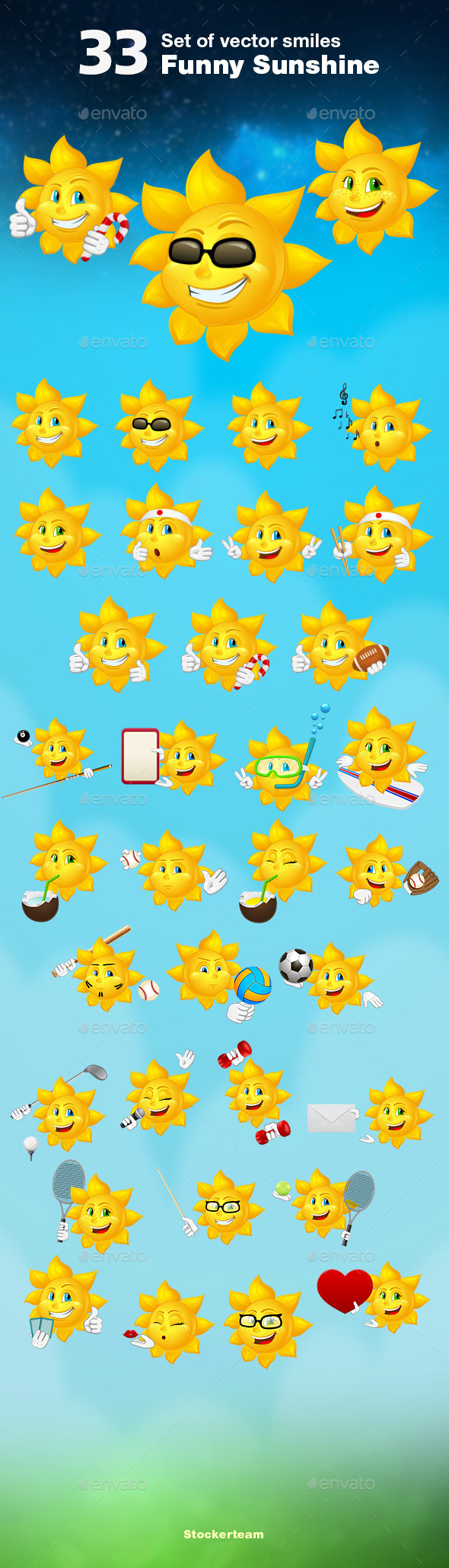 Set of 33 Sunshines - Characters Vectors
