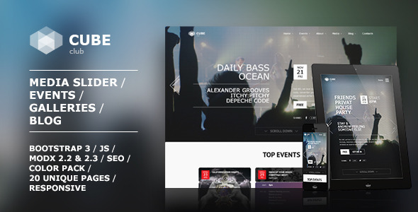 Club Cube – responsive MODX theme for night club