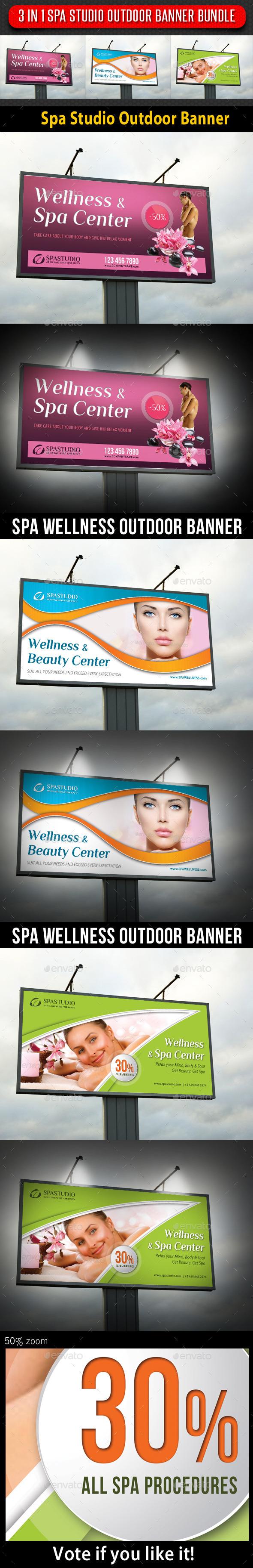 3 in 1 Spa Studio Outdoor Banner Bundle - Signage Print Templates