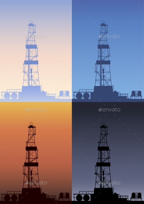Oil Rig at Different Times of the Day - Industries Business