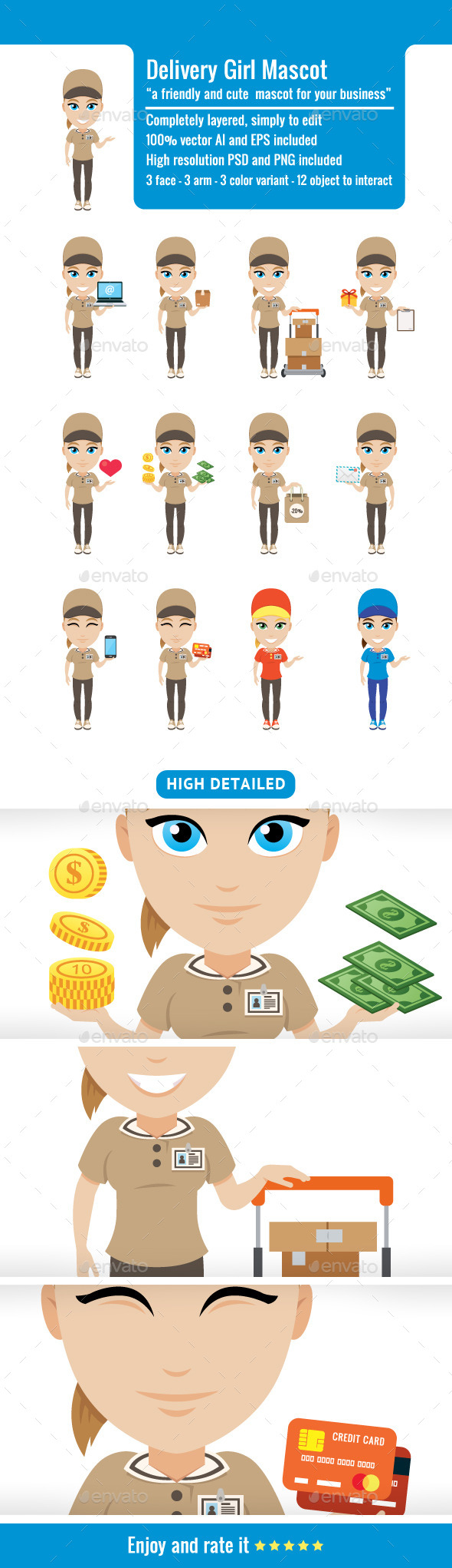 Delivery Girl Mascot - People Characters