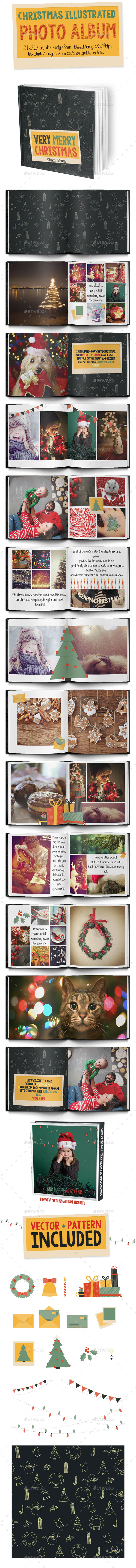 Christmas Illustrated Photo Album - Photo Albums Print Templates