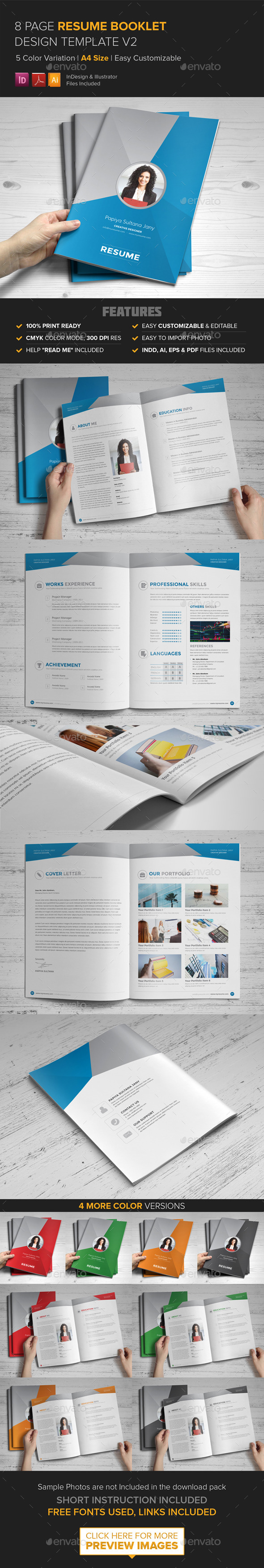Resume Booklet Design (InDesign) v2 - Resumes Stationery