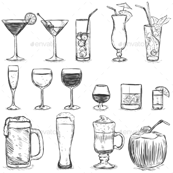 Vector Set of Sketch Cocktails and Alcohol Drinks - Food Objects