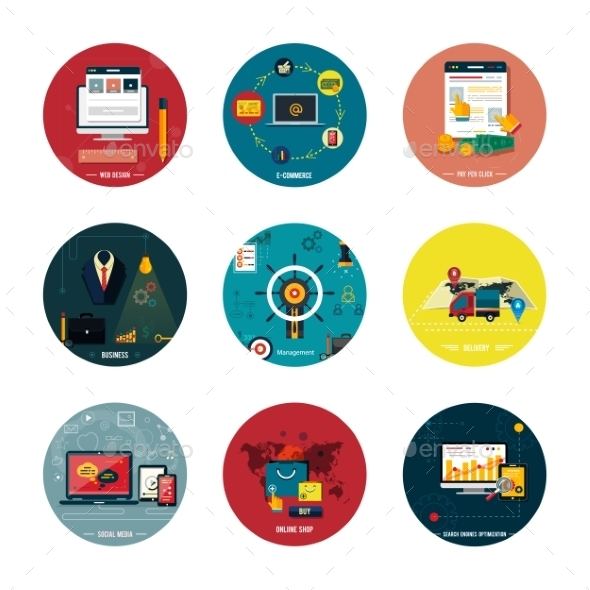 Icons for Web Design, Seo and Social Media - Technology Conceptual