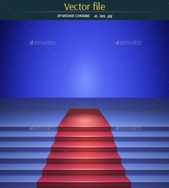 The Scene with Red Carpet in a Blue Tone - Backgrounds Decorative