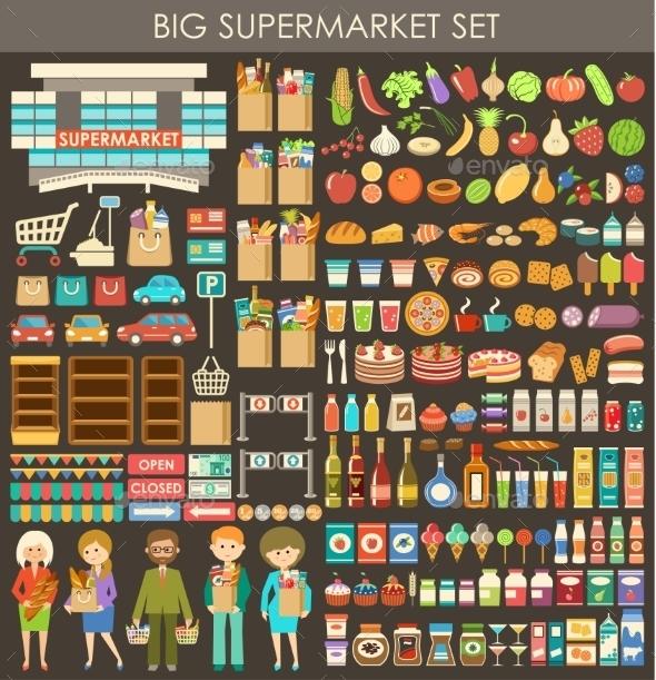 Big Supermarket Set. - Food Objects