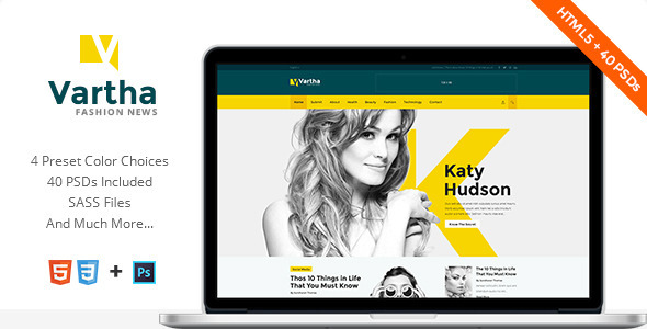 Vartha - HTML5 Magazine Template