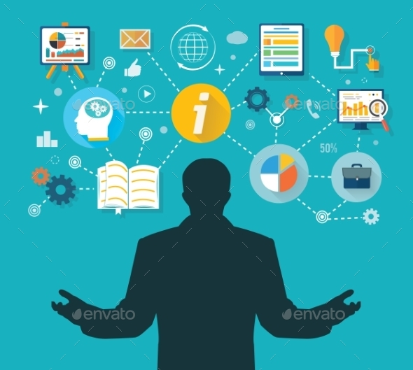 Businessman with Touch Screen Icons - Concepts Business