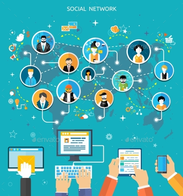 Social Media Network Connection Concept - Technology Conceptual