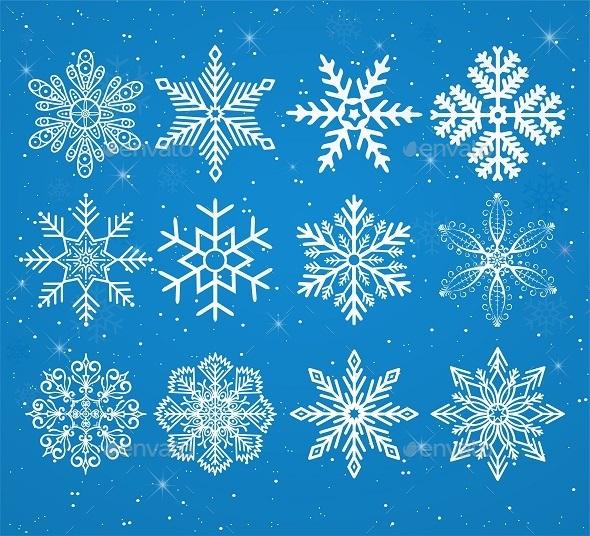 Set of Snowflakes  - Seasons/Holidays Conceptual