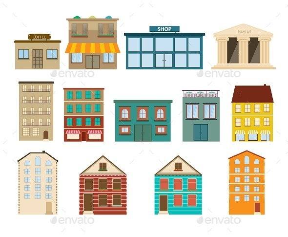 Town and Suburban Buildings Icons  - Buildings Objects