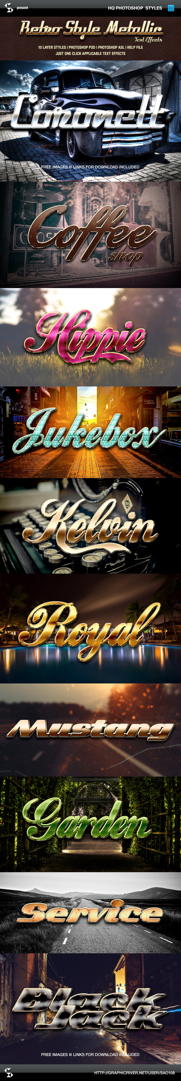 Retro Style Metallic Text Effects - Text Effects Styles