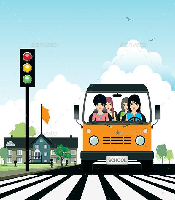 School Bus  - Landscapes Nature