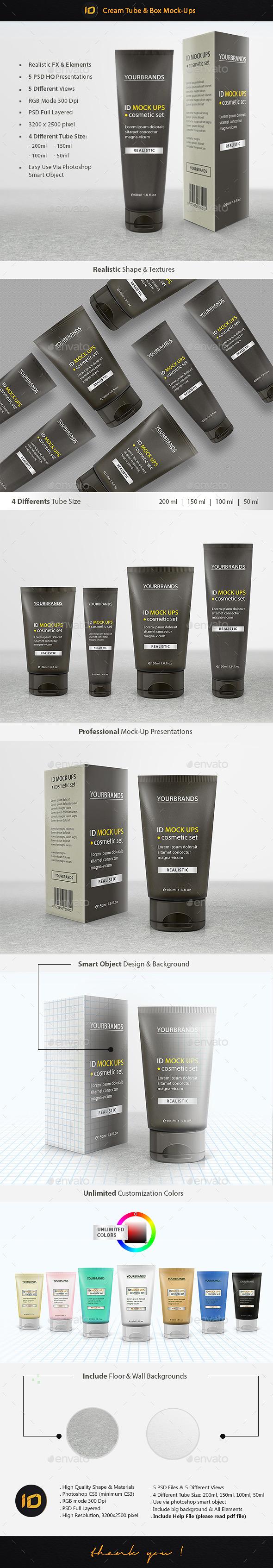 Cream Tube & Box Mock-Up - Product Mock-Ups Graphics