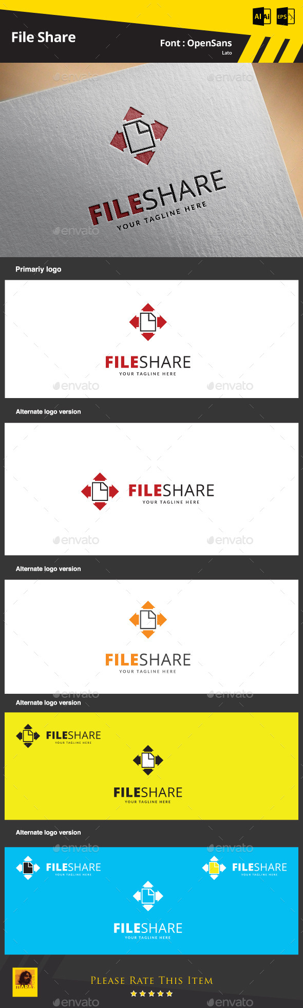 File Share Logo Template - Symbols Logo Templates