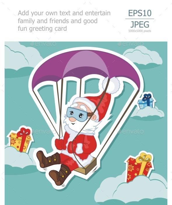 Santa Claus Flies on Parachute - Christmas Seasons/Holidays