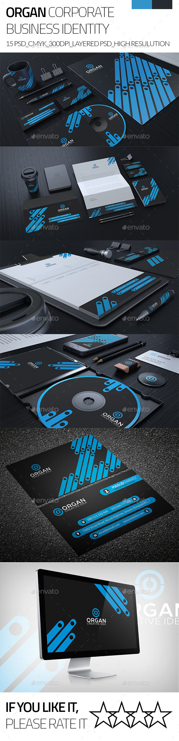 Organ Corporate Business Stationary Identity - Stationery Print Templates