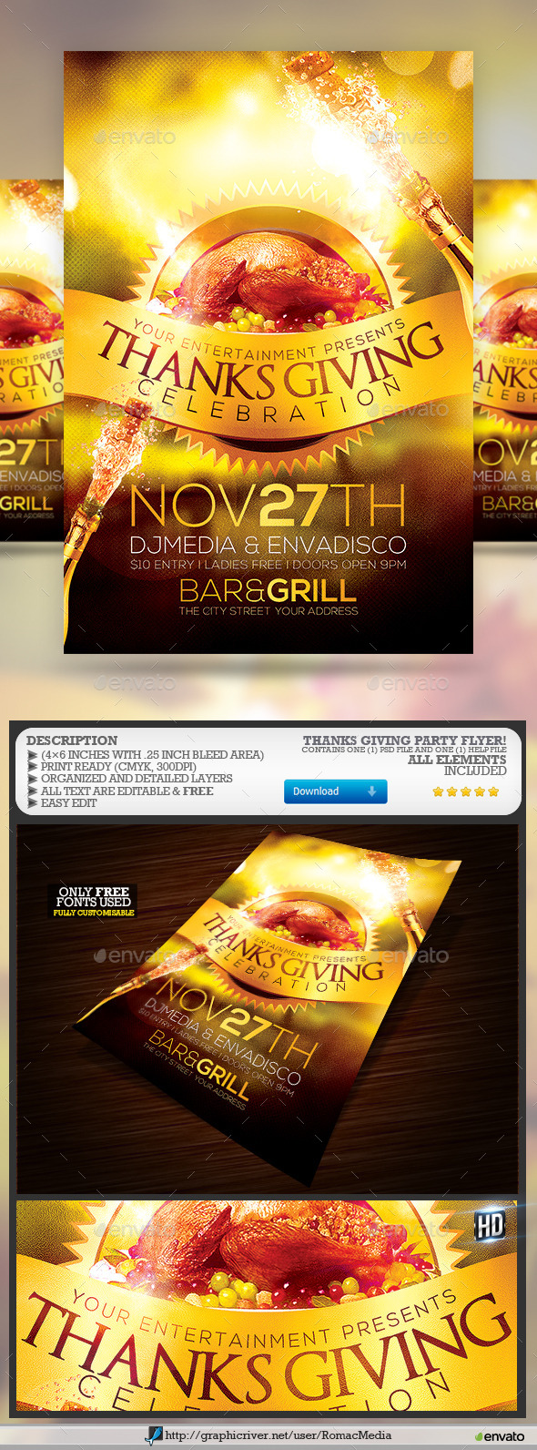 Thanks Giving Party  - Events Flyers