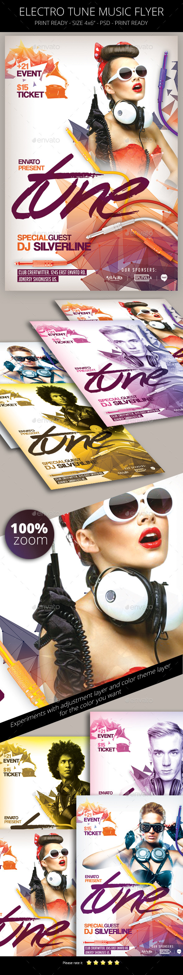 Electro Tune Music Flyer Template - Clubs & Parties Events