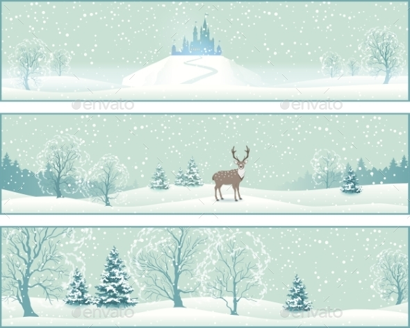 Winter Landscape Banners - Christmas Seasons/Holidays