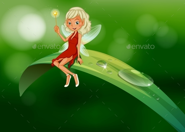 Fairy with a Wand Sitting on a Leaf  - People Characters