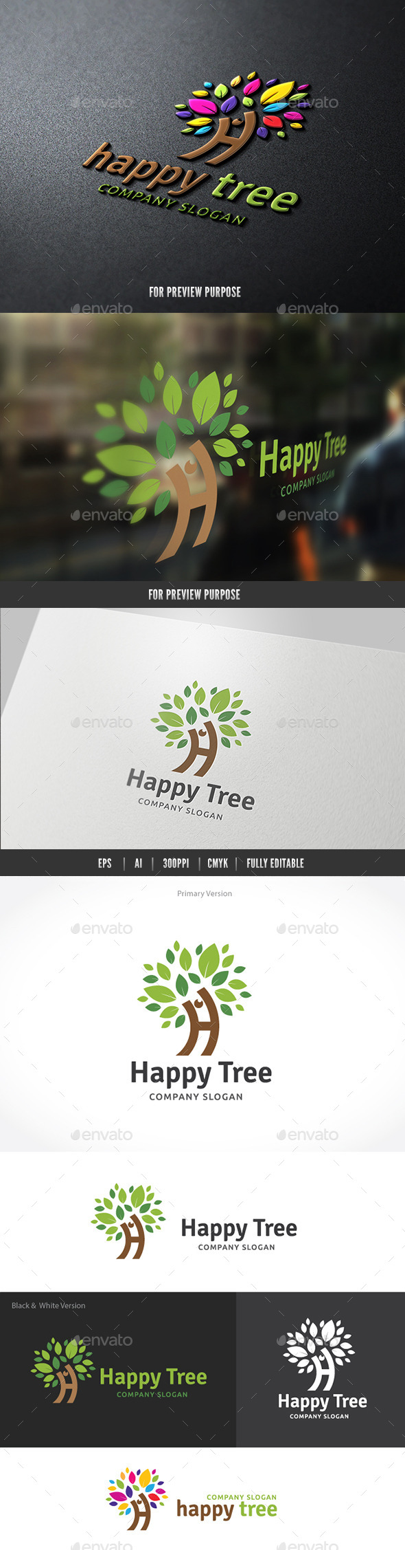Happy Tree - Nature Logo Templates