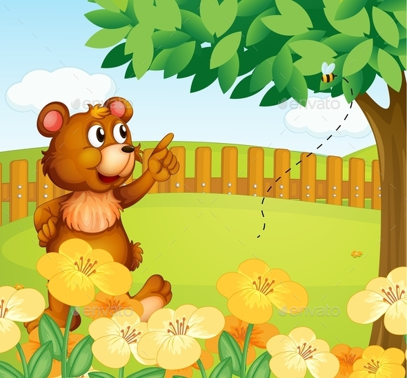 Bear Inside a Fence Pointing at a Bee - Animals Characters