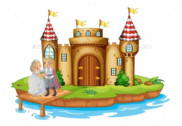 Prince and a Princess on Castle Wooden Bridge - People Characters