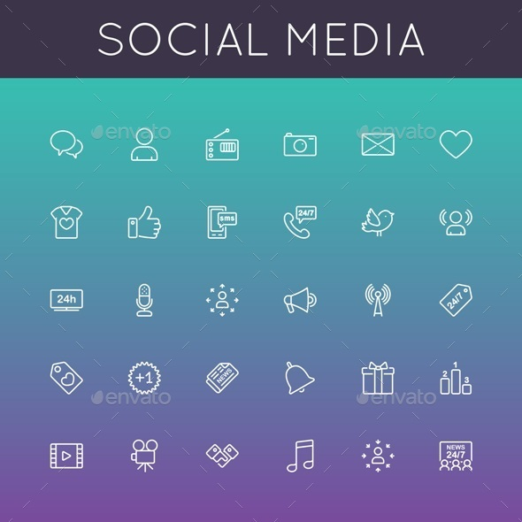 Social Media Line Icons - Media Technology