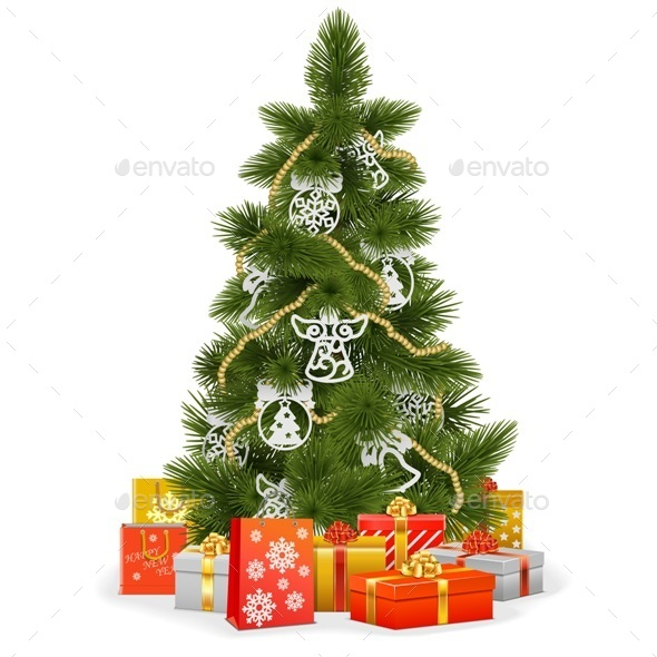 Christmas Tree with Paper Decorations - Christmas Seasons/Holidays