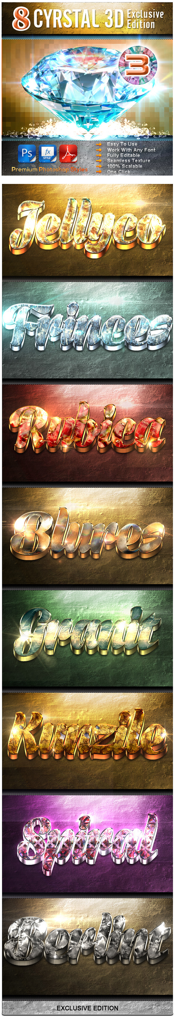 8 Crystal 3D Exclusive Edition Vol.3 - Text Effects Styles