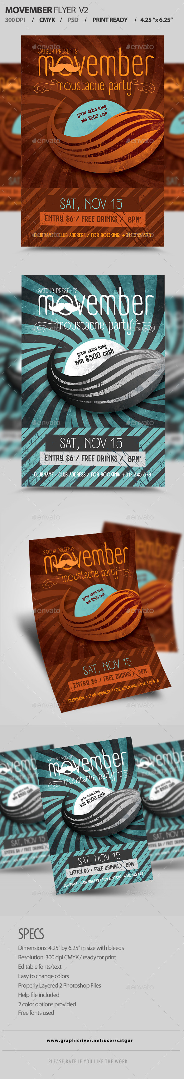 Movember Flyer / Moustache Party Flyer V2  - Clubs & Parties Events