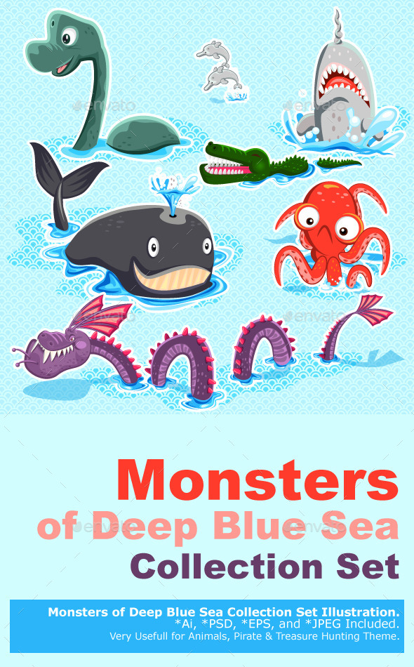 Monsters of the Deep Blue Sea Collection Set - Monsters Characters