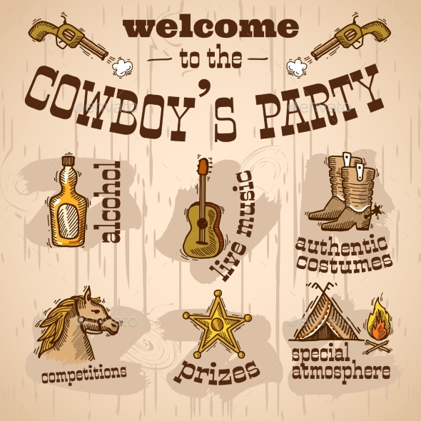 Cowboy Party Set - Miscellaneous Vectors