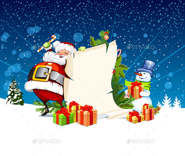 Santa Claus and Snowman - Christmas Seasons/Holidays