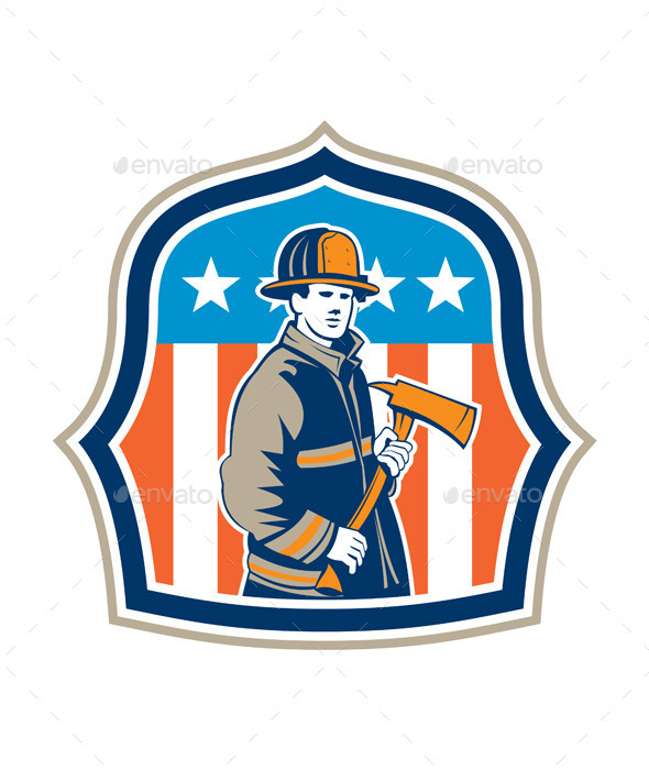 American Firefighter Fire Axe Shield - People Characters
