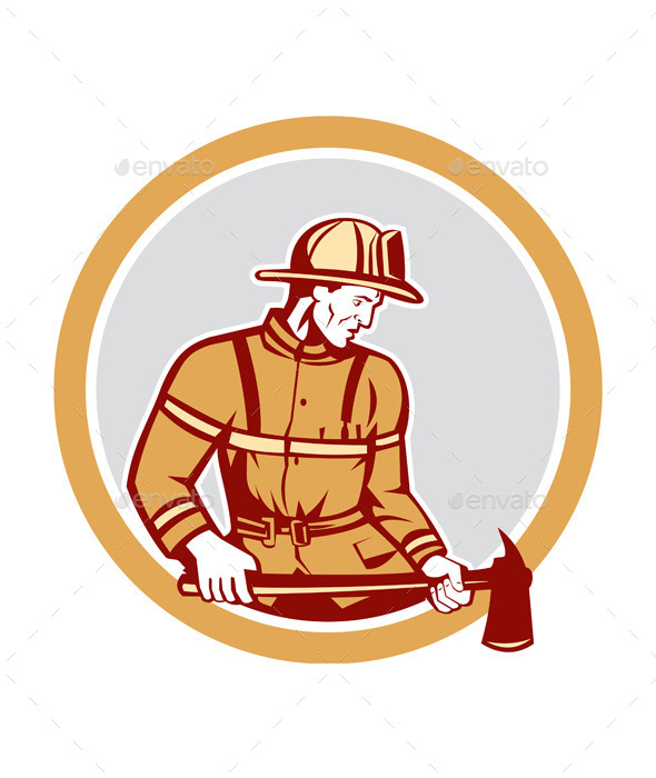 Firefighter Holding Fire Axe Circle - People Characters