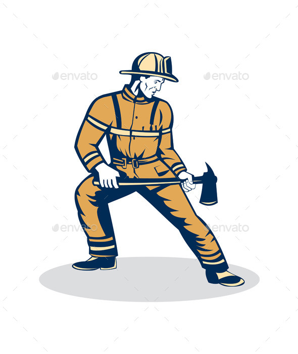 Firefighter Standing Holding Fire Axe  - People Characters