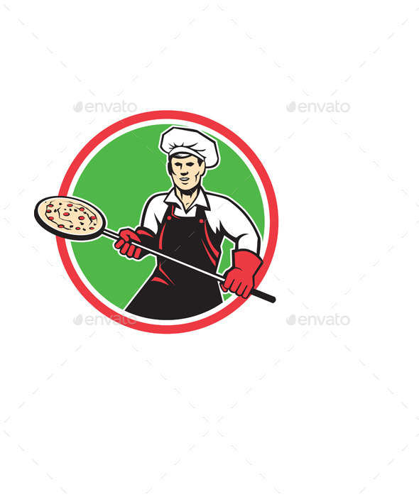 Pizza Maker Holding Peel Circle Retro - People Characters