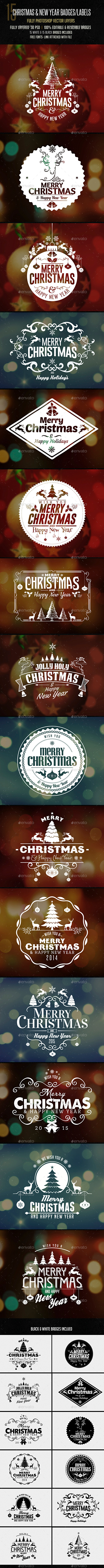 Christmas & New Year Badges/ Sticker - Badges & Stickers Web Elements