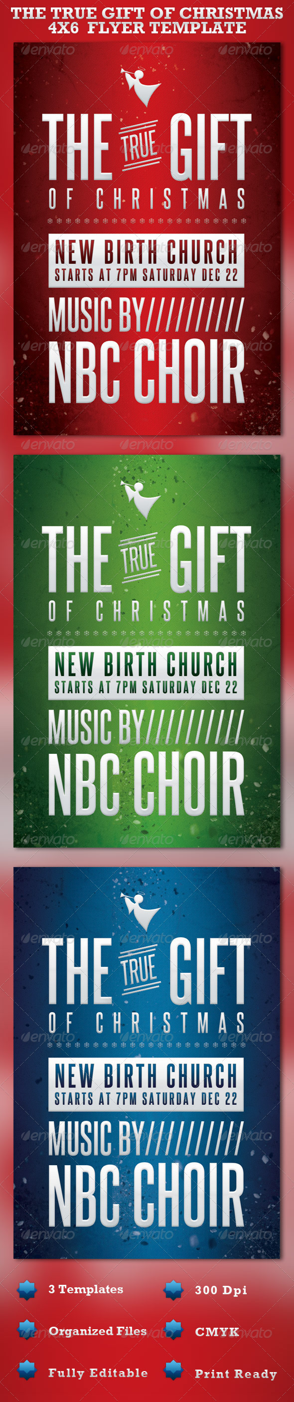 The Gift of Christmas Church Flyer Template - Church Flyers