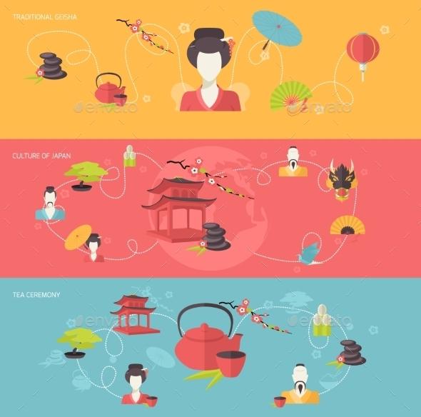 Japanese Banner Set - Borders Decorative