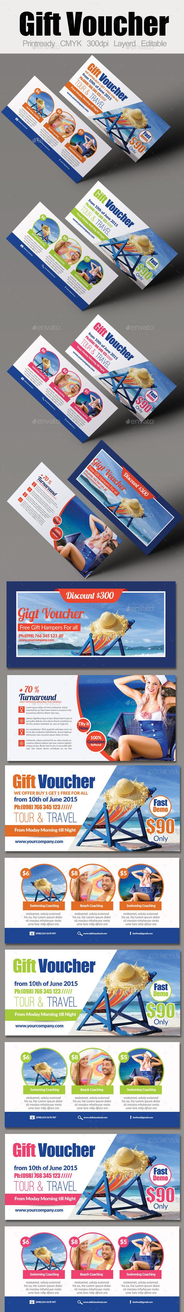 Tour Travel Gift Voucher Bundle - Cards & Invites Print Templates