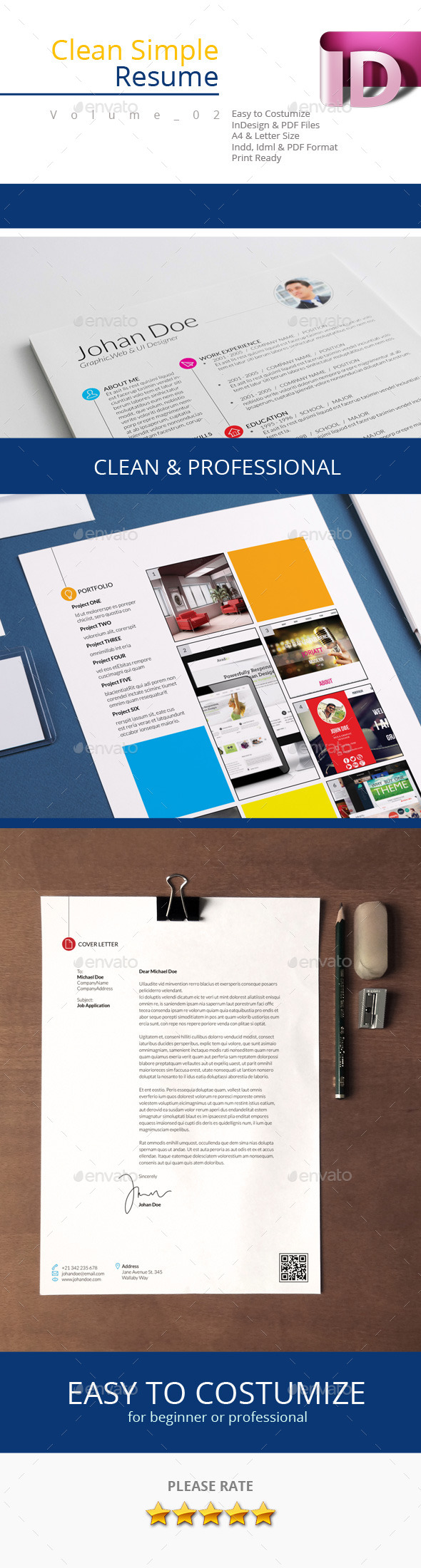 Clean Simple Resume V.02 - Resumes Stationery