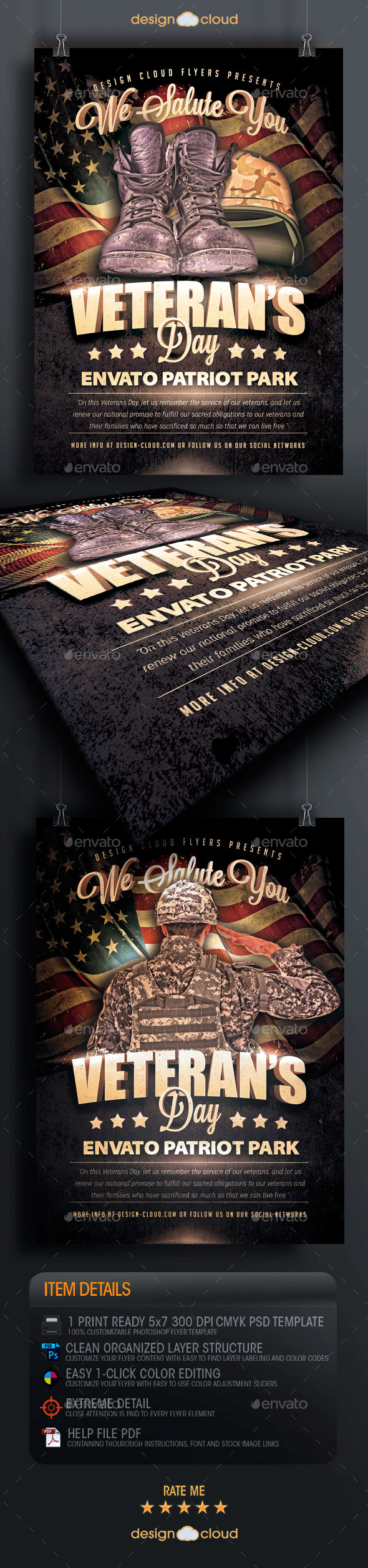 Veteran's Day Salute Flyer Template - Holidays Events