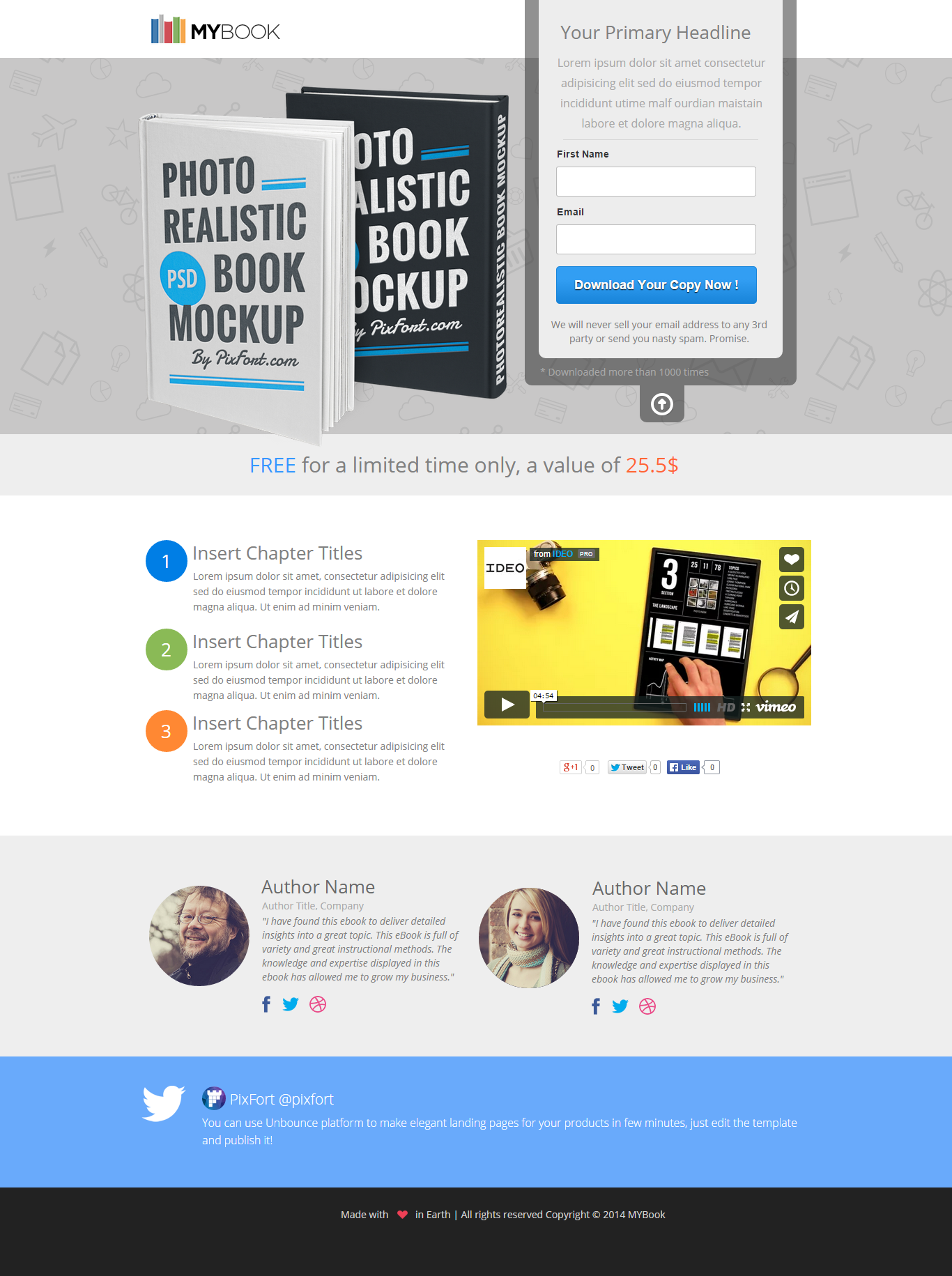 MYBook - Instapage ebook Landing Page by PixFort | ThemeForest