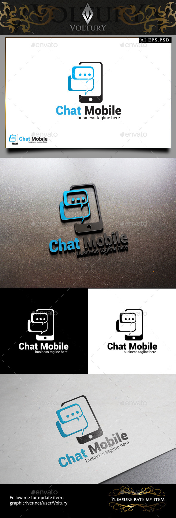 Chat Mobile Logo - Objects Logo Templates
