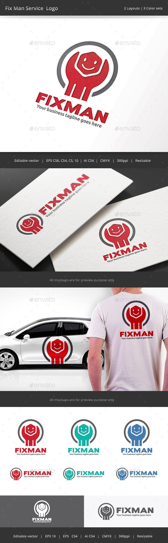 Fix Man Service Logo - Objects Logo Templates