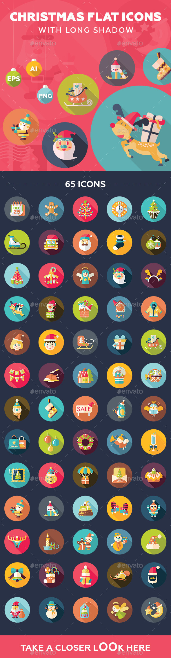 65 Christmas Flat Icons - Seasonal Icons